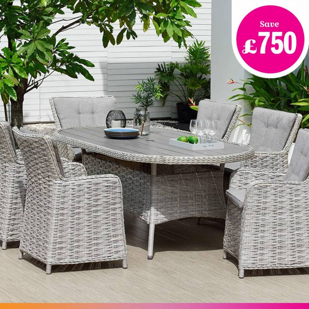 Eden Project Salerno Collection Oval Dining Table & 6 Chairs