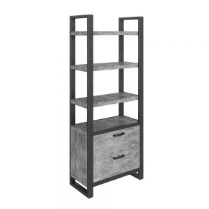 Fuji Bookcase With Drawers Stone