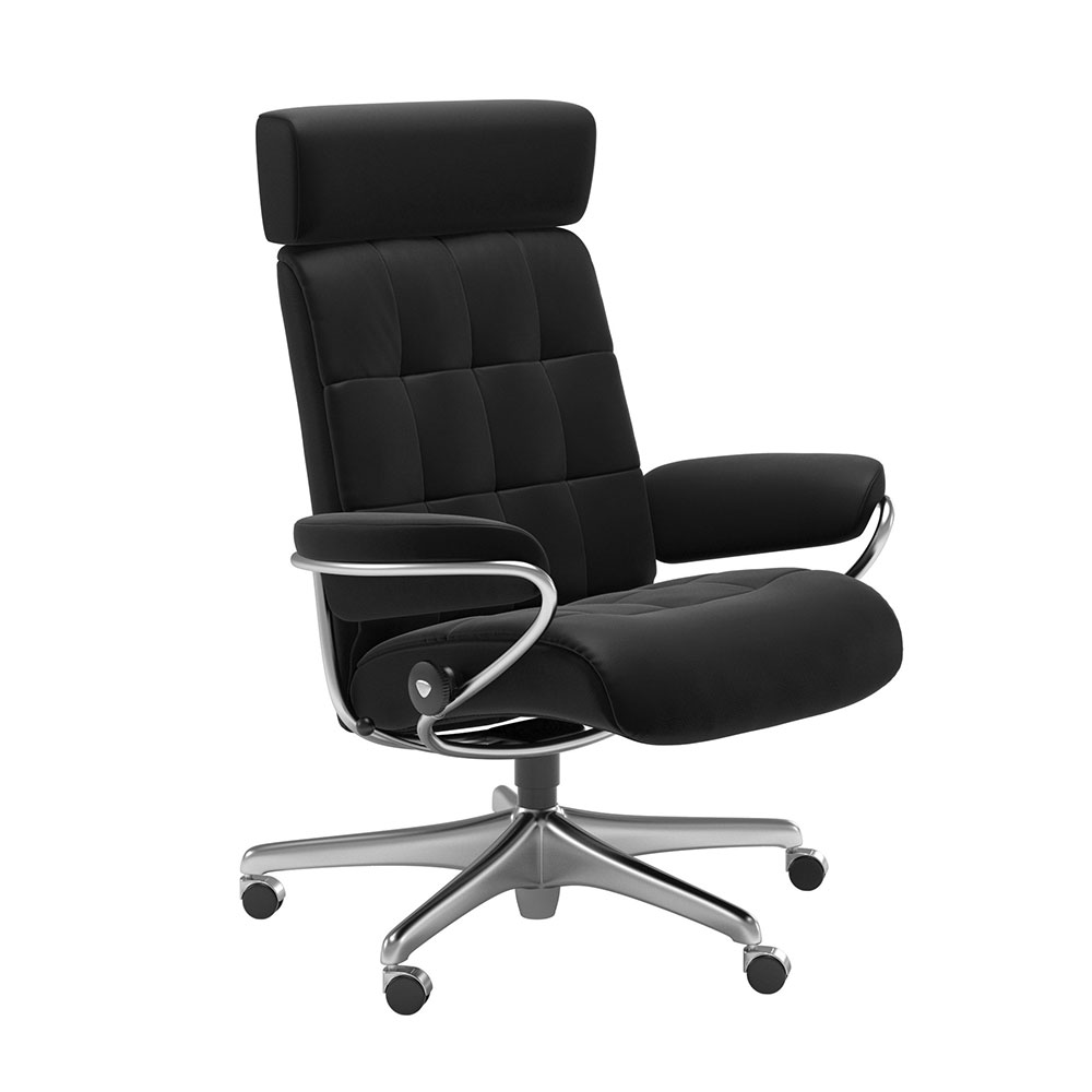 LONDON 1350097 OFFICE CHAIR WITH ADJUST H/ REST (STEEL) / FABRIC /