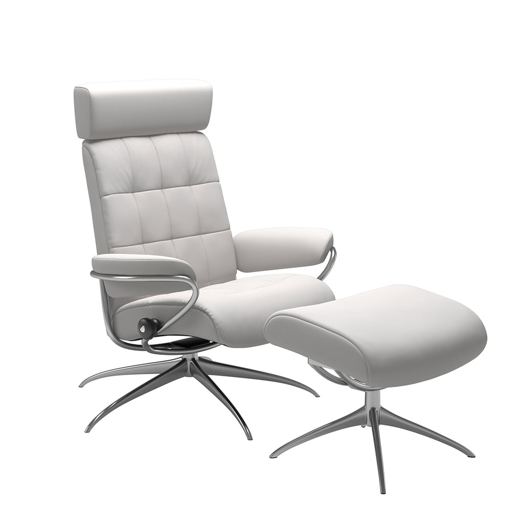 LONDON 1350345 STAR CHAIR WITH F/STOOL & ADJUST H/REST / FABRIC /