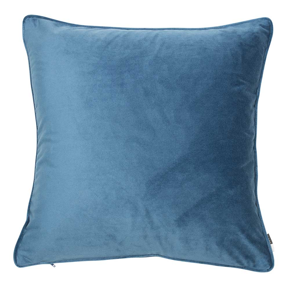 Luxe 50cm Velvet Piped Cushion Blue Wing