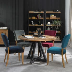Rustic Circular Dining Table & Four Dining Chairs