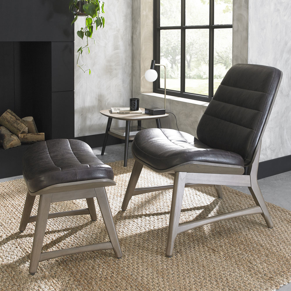 Volterra Weathered Upholstered Chair & Foot Stool