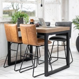 Nicco Rectangular Bar Table & Four Bar Stools Tan