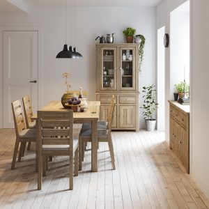 Brittany Oak Extending Dining Table & Four Dining Chairs