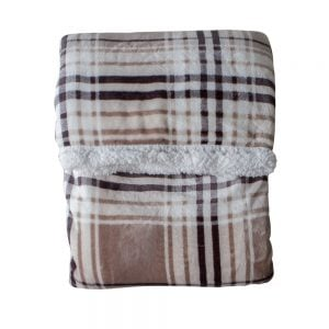 Check Sherpa Throw Taupe & Grey 177cm x 152cm