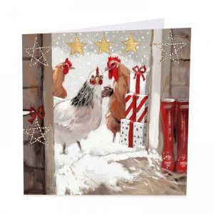 Three French Hens Christmas Cards - Pack of 8