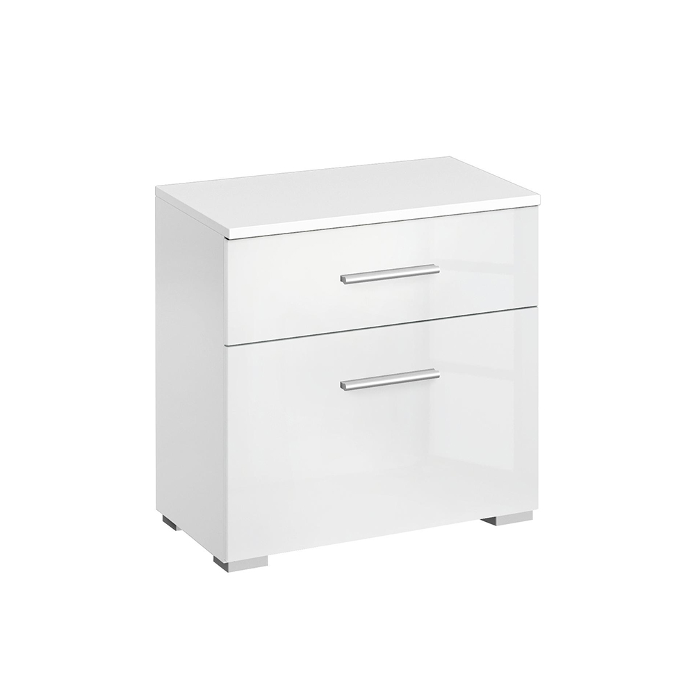 Laguna 2 Drawer Bedside Chest High Polish White