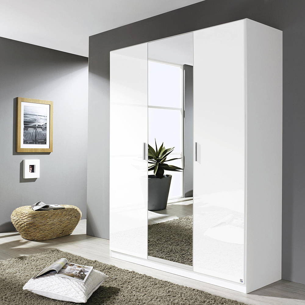 Laguna 3 Door 1 Mirror Hinged Wardrobe High Polish White