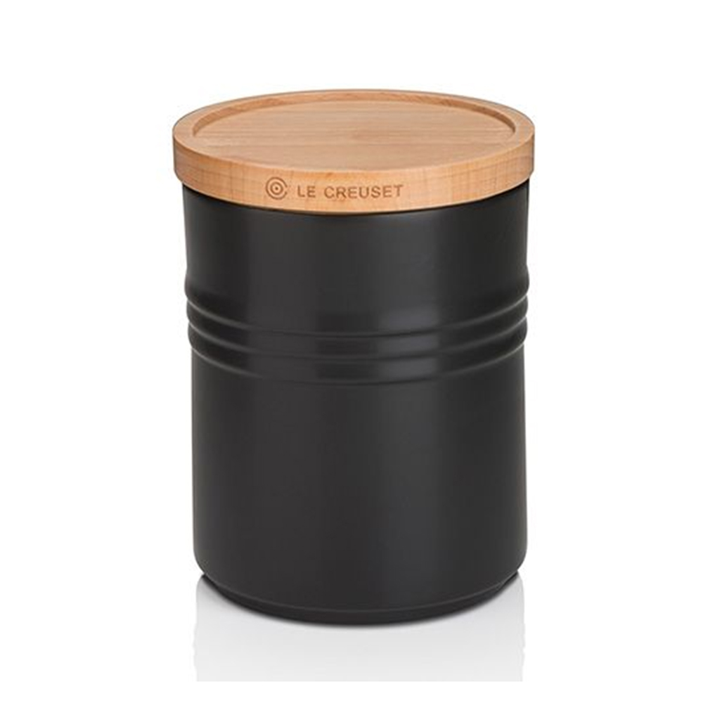 Le Creuset Medium Storage Jar with Wood Satin Black
