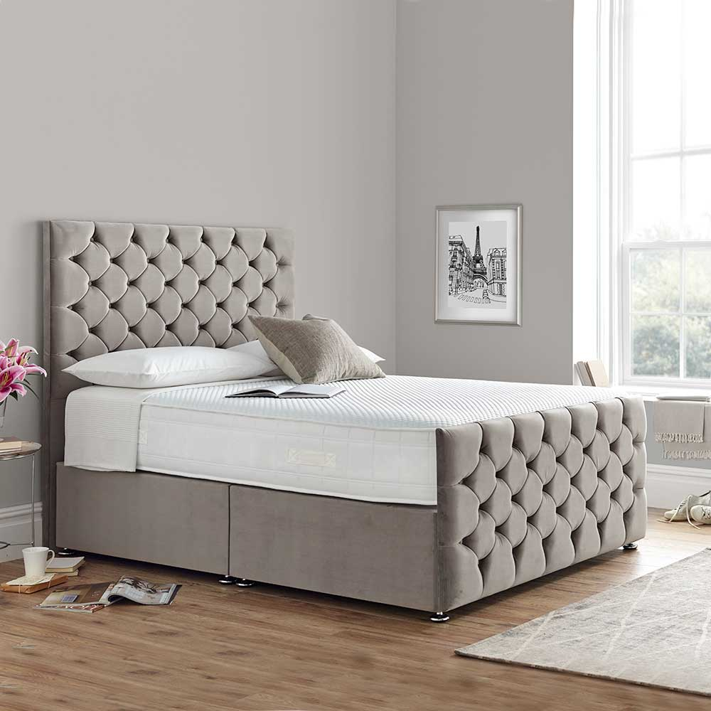 Madison 135cm 2 Drawer Divan Bed Maurice Silver