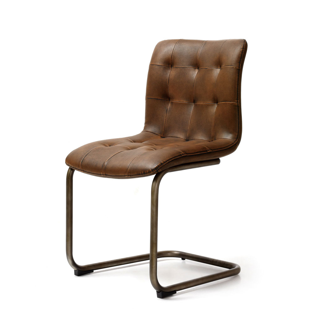 Button Back PU Brown Chair