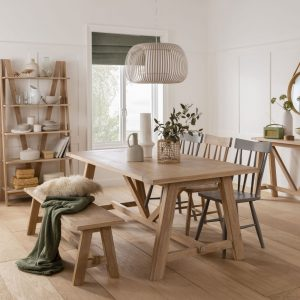 Dalham Fix Dining Table, Bench and Three Grey Dining Chairs