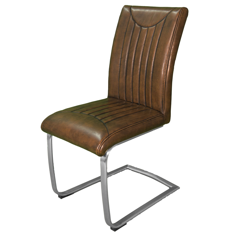 Indiana Stitch Vintage Dining Chair Stainless Steel Base