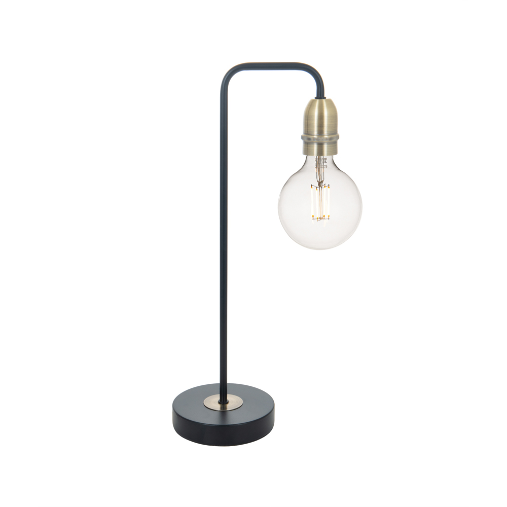 Kiefer Table Lamp Black and Antique Brass