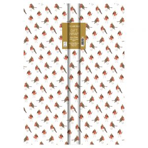 Robins On White Gift Roll Wrap