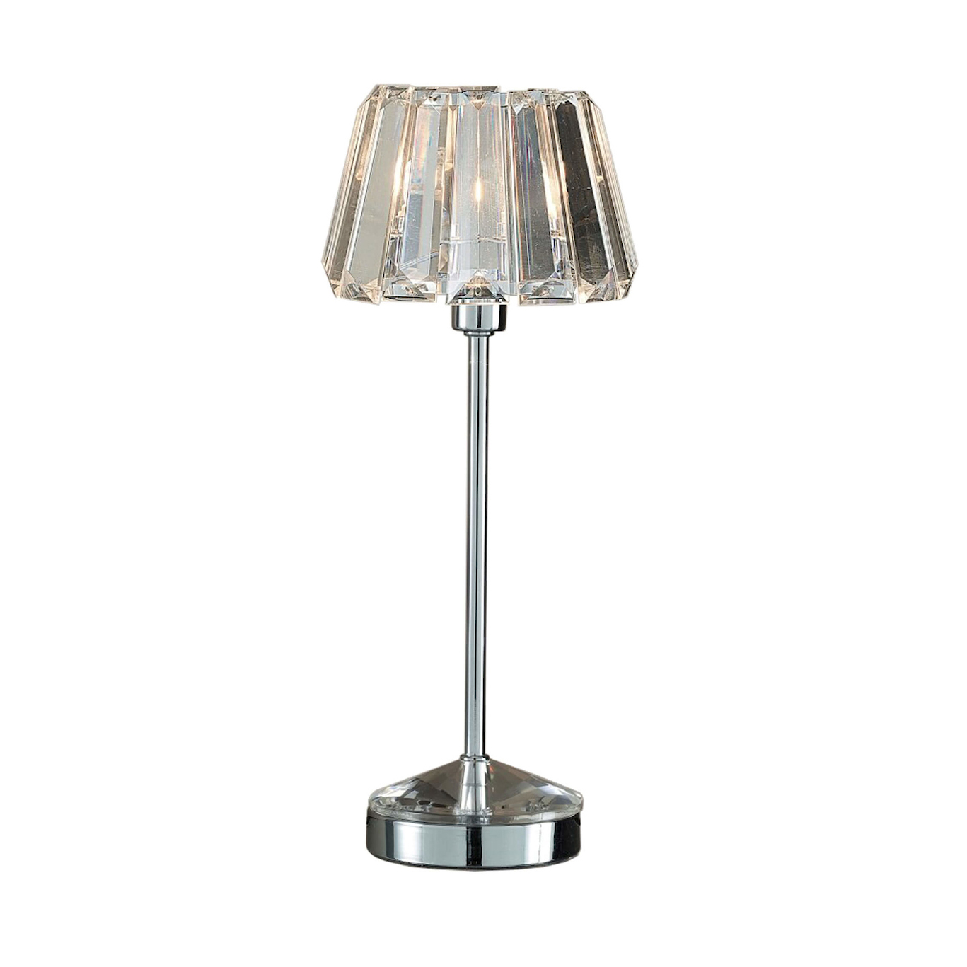 Capri Polished Chrome Table Lamp With Crystal Glass Shade