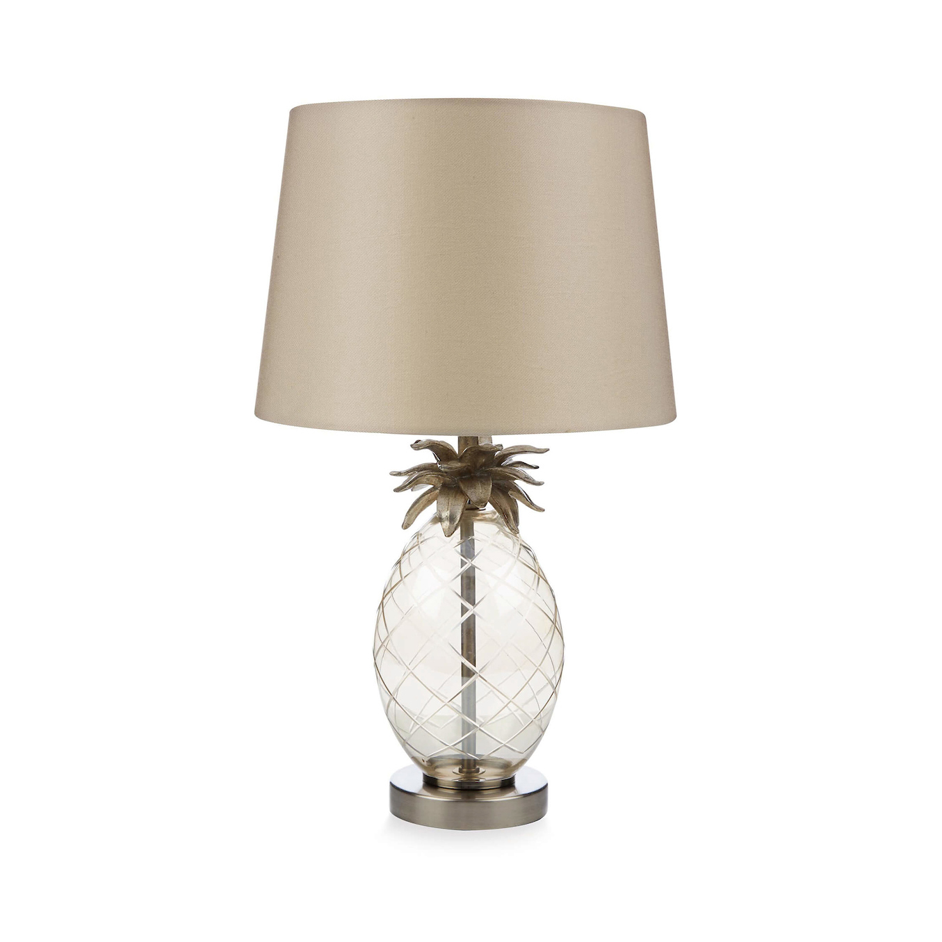 Laura Ashley Pineapple Petite Glass Table Lamp With Shade Champagne