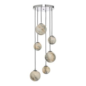 Mikara 6 Light Cluster Pendant Marble Effect Glass & Polished Chrome