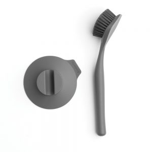 Brabantia Dish Brush with Suction Cup Holder Dark Grey