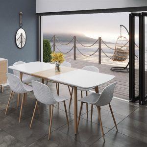 Positano Extending Dining Table 160-200cm & Four Light Grey Dining Chairs