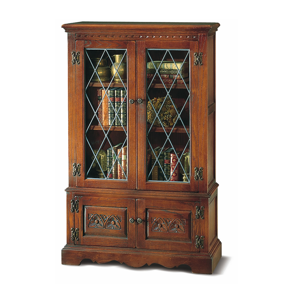 Old Charm Bookcase With Glass Doors