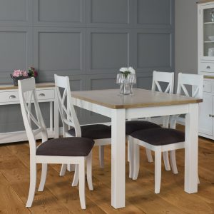 Pemberley Fixed Top Dining Table 120cm Wide and Four Cross Back Dining Chairs