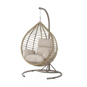 Bramblecrest Tulip Single Open Weave Cocoon Including Season Proof Eco Cushions - Sandstone