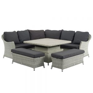 Bramblecrest Brancaster Modular Sofa With Square Adjustable Casual Dining Table & 2 Benches