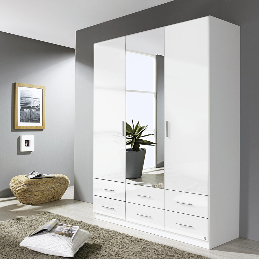 Laguna 3 Door 6 Drawer Mirrored Wardrobe High Polish White