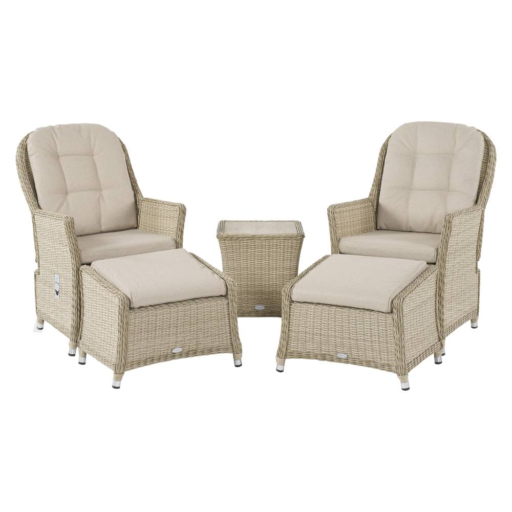 Bramblecrest Brancaster Recliner Set Including 2 Footstools & Ceramic Top Side Table - Sandstone
