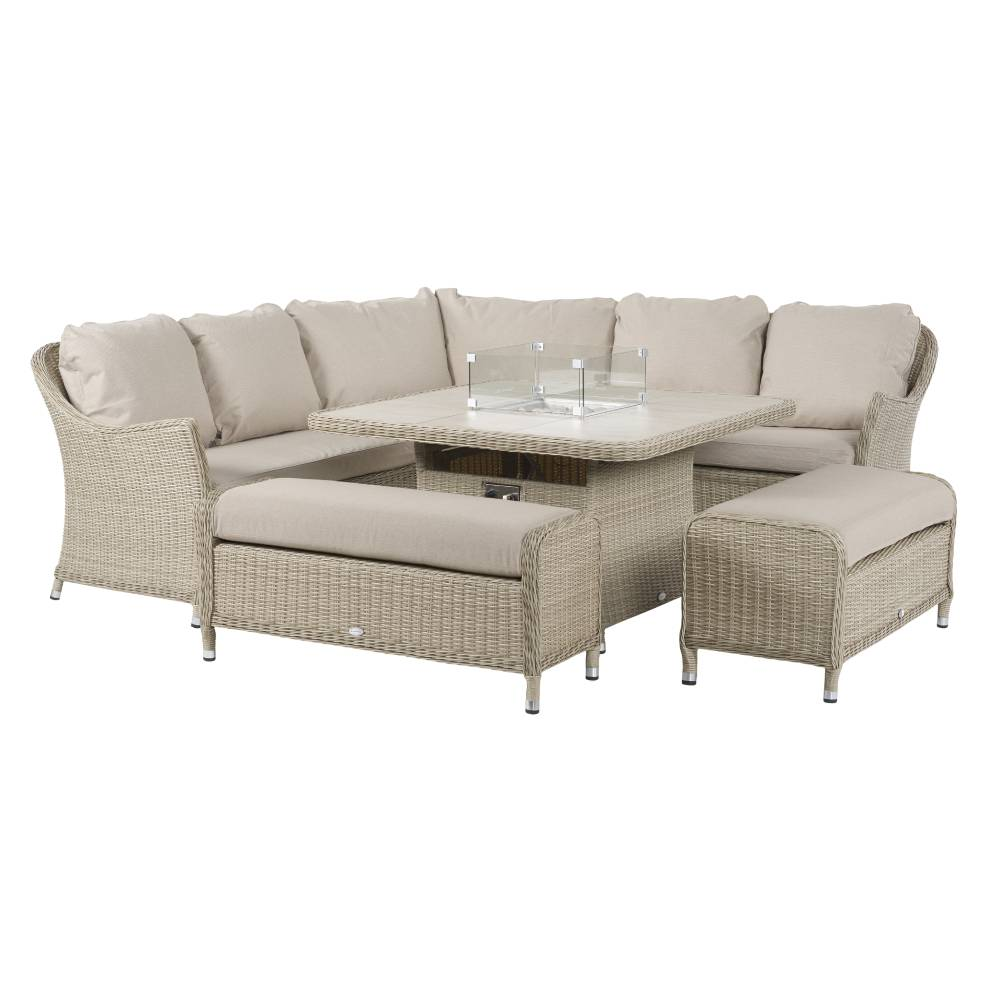 Bramblecrest Brancaster Modular Sofa With Square Ceramic Table With Fire Pit & 2 Benches - Sandstone