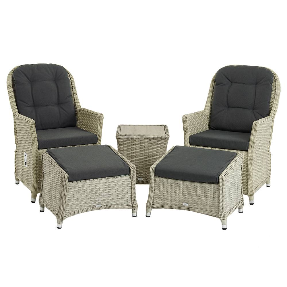 Bramblecrest Brancaster Recliner Set Including 2 Footstools & Ceramic Top Side Table - Dove Grey