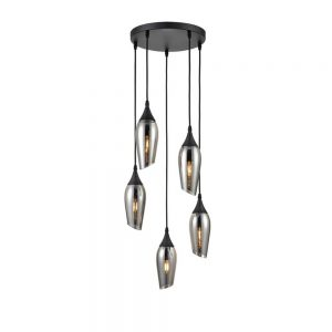 Angle-Cut 5 Light Spreader Smoked Glass Ceiling Light