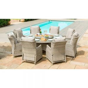 Yoxford Round 180cm Dining Set with Lazy Susan & 8 Chairs