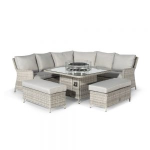 Oakham Corner Square Dining Set with Fire Pit Table & 2 Benches
