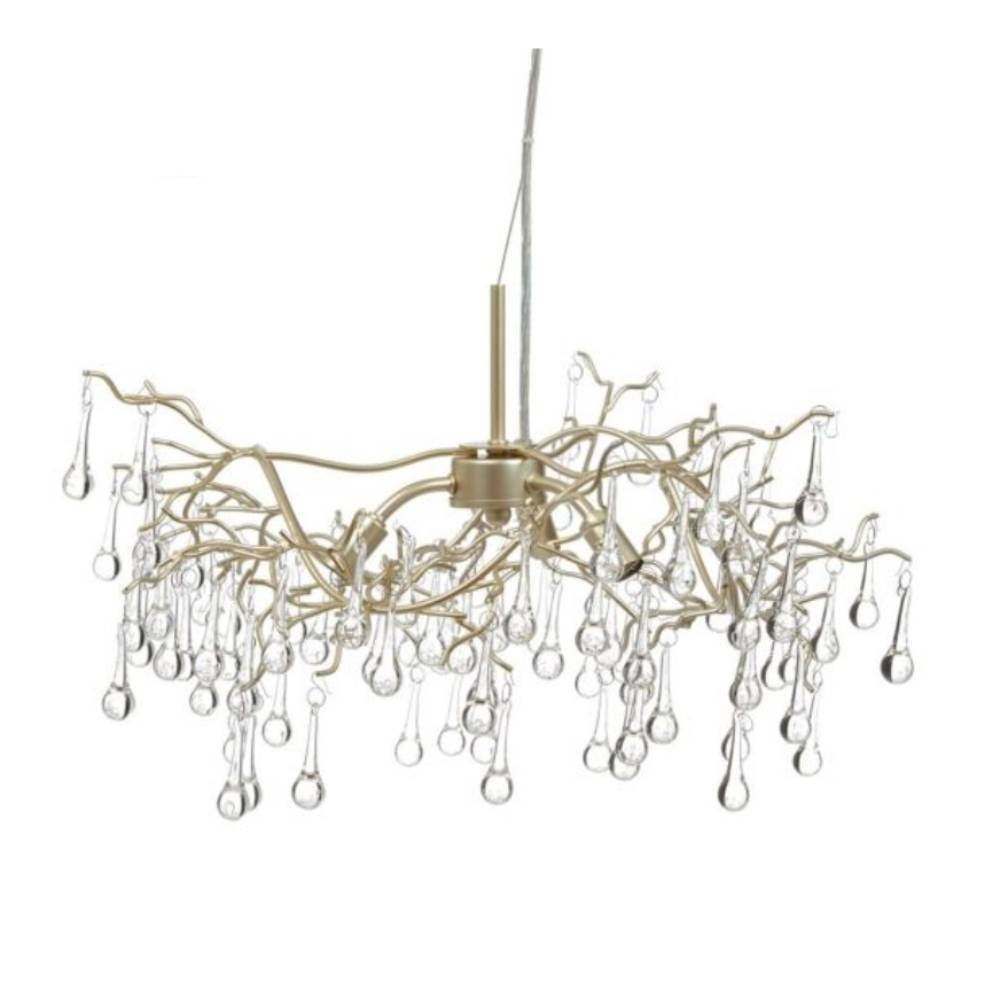 Laura Ashley Willow 3-Light Pendant Champagne with Crystal Droplets