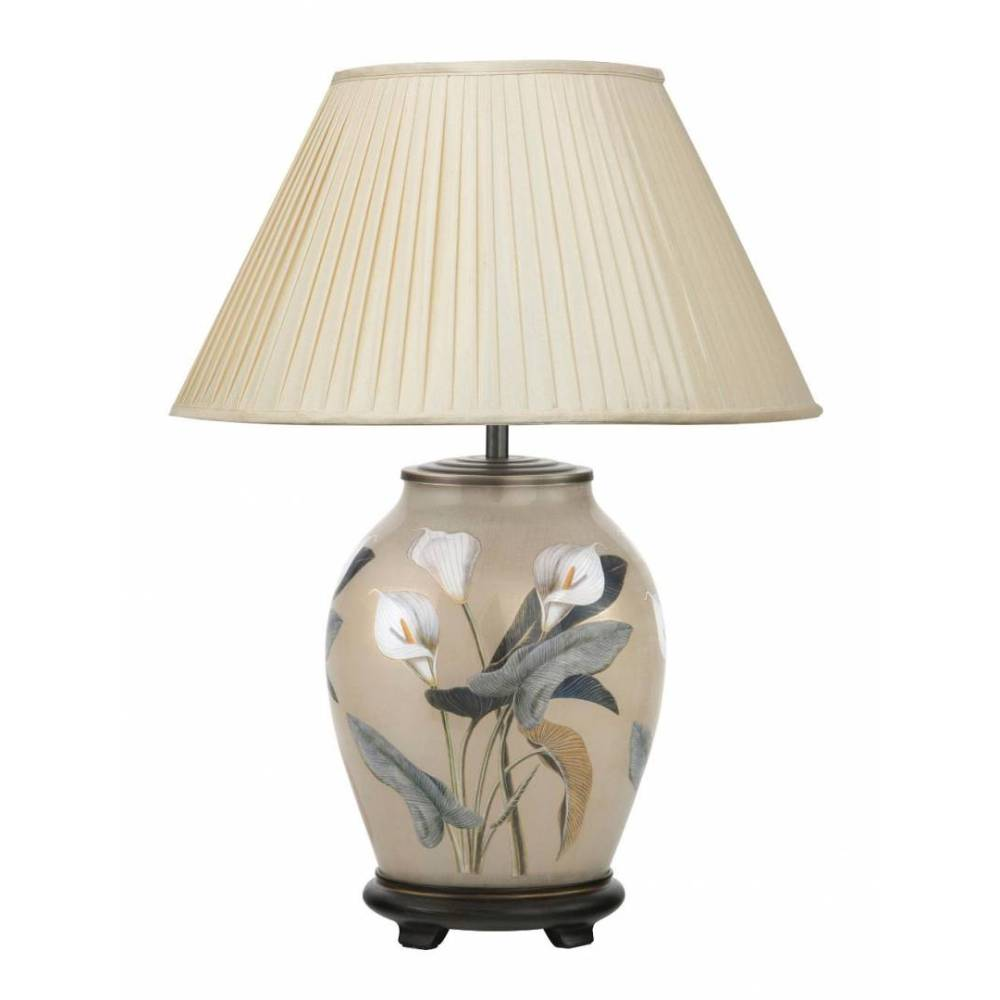Jenny Worrall Arum Lily Medium Base With 40cm Silk Shade In Almond