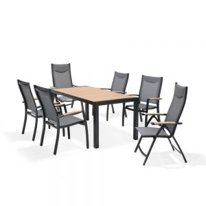 Barcelona Dining Set with 4 Stacking Chairs & 2 Recliners
