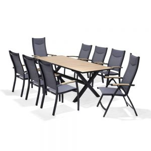 Barcelona Dining Set with 6 Stacking Chairs & 2 Recliners