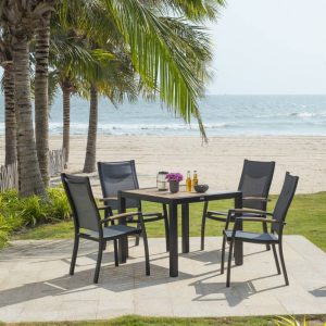 Barcelona Dining Set with 4 Stacking Chairs
