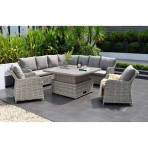 Eden Project 120cm Square Casual Garden Dining Corner Set with 2 Sofa Chairs