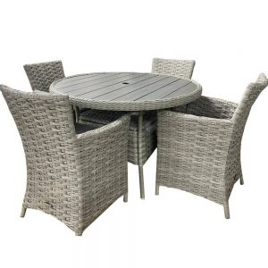 Eden Project Round Garden Dining Table & 4 Carver Chairs