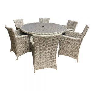 Eden Project Salerno Round Garden Dining Table & 6 Carver Chairs
