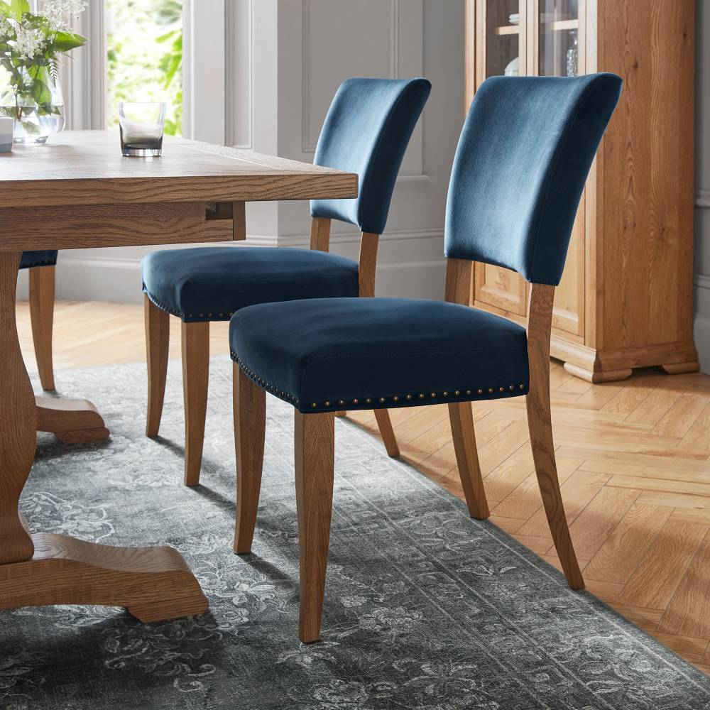 Rustic Upholstered Dining Chair Blue