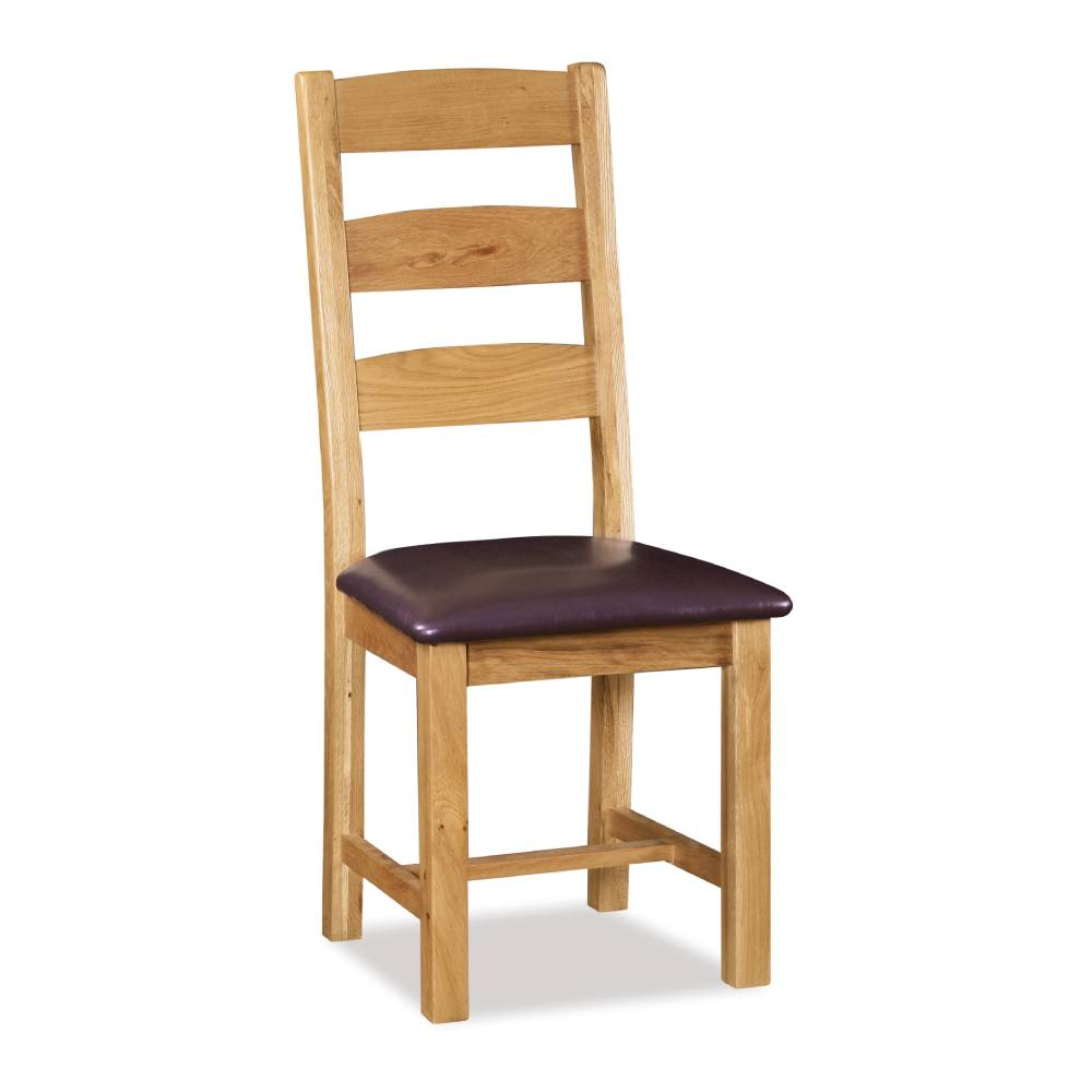 Rural Charm Ladder Back Chair with Faux Leather Seat