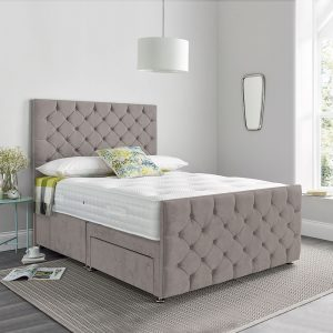 Madison Double 135cm 2 Drawer Divan Bed Maurice Silver