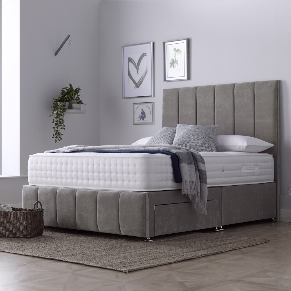 Somerton Double 150cm 2 Drawer Divan Bed Naples Silver