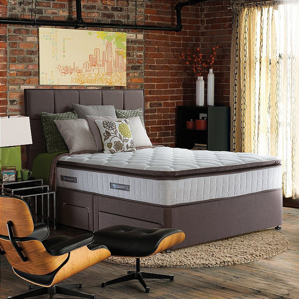 Sealy Messina Pocket 1400 Latex Double 135cm 2 Drawer Bed Pebble