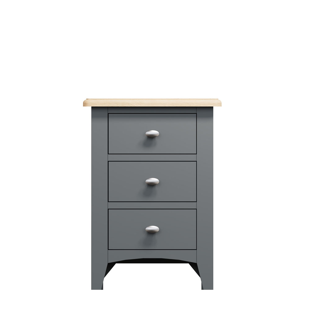 Carlton 3 Drawer Bedside Chest Charcoal